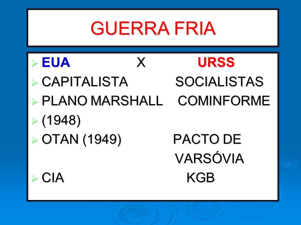 GUERRA FRIA EUA X URSS EUA X URSS CAPITALISTA SOCIALISTAS CAPITALISTA SOCIALISTAS PLANO MARSHALL COMINFORME PLANO MARSHALL COMINFORME (1948) (1948) OT