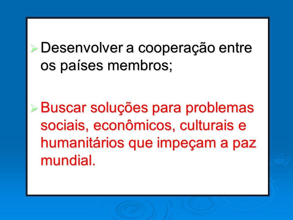 Desenvolver a cooperação entre os países membros; Desenvolver a cooperação entre os países membros; Buscar soluções para problemas sociais, econômicos