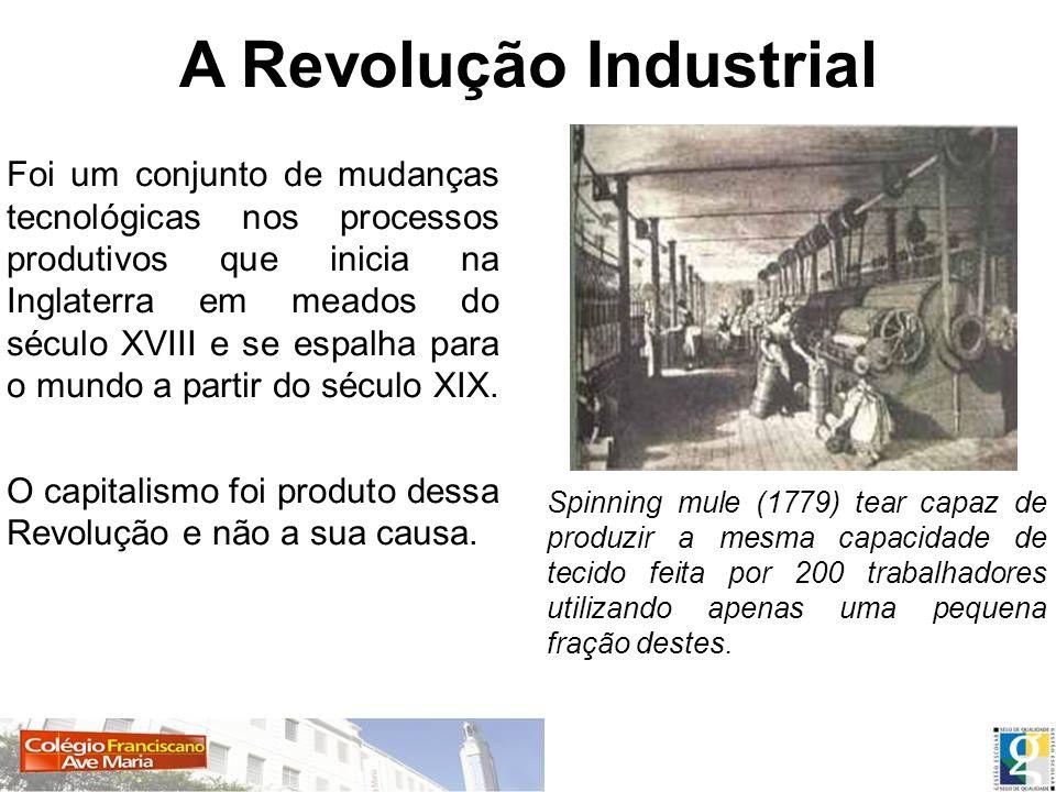 A Revolução Industrial Foi um conjunto de mudanças tecnológicas nos processos produtivos que inicia na Inglaterra em meados do século XVIII e se espal