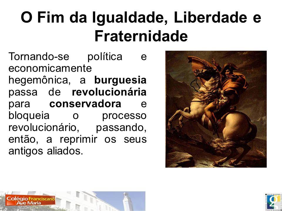 O Fim da Igualdade, Liberdade e Fraternidade Tornando-se política e economicamente hegemônica, a burguesia passa de revolucionária para conservadora e
