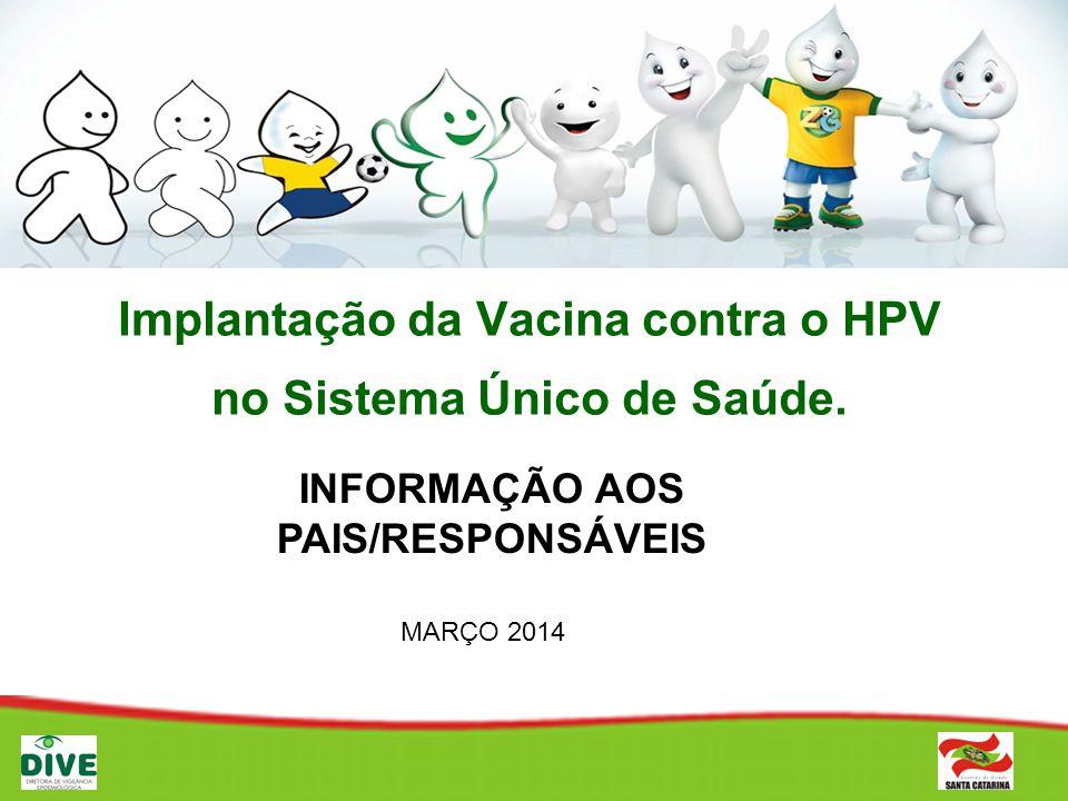 Implantação da Vacina contra o HPV no Sistema Único de Saúde. INFORMAÇÃO AOS PAIS/RESPONSÁVEIS MARÇO 2014