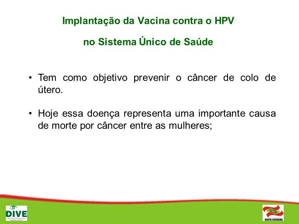 Implantação da Vacina contra o HPV no Sistema Único de Saúde Vacina que será utilizada: Vacina quadrivalente: protege para quatro vírus HPV, que são os mais frequentes: Vírus 6 e 11: causam 90% das lesões anogenitais (condilomas, verrugas) e; Vírus 16 e 18:causam 70% dos casos de câncer de colo de útero Intramuscular (injeção)