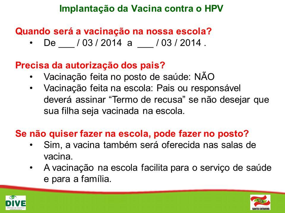 Implantação da Vacina contra o HPV Quando será a vacinação na nossa escola? De ___ / 03 / 2014 a ___ / 03 / 2014. Precisa da autorização dos pais? Vac