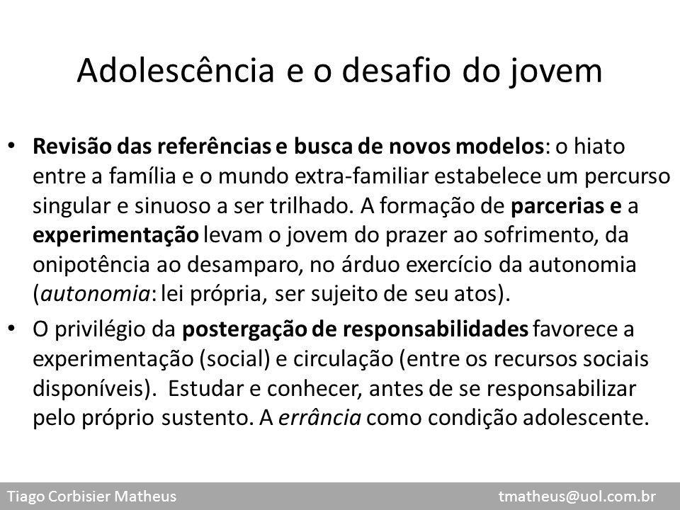 Tiago Corbisier Matheus tmatheus@uol.com.br Adolescência e o desafio do jovem Revisão das referências e busca de novos modelos: o hiato entre a famíli