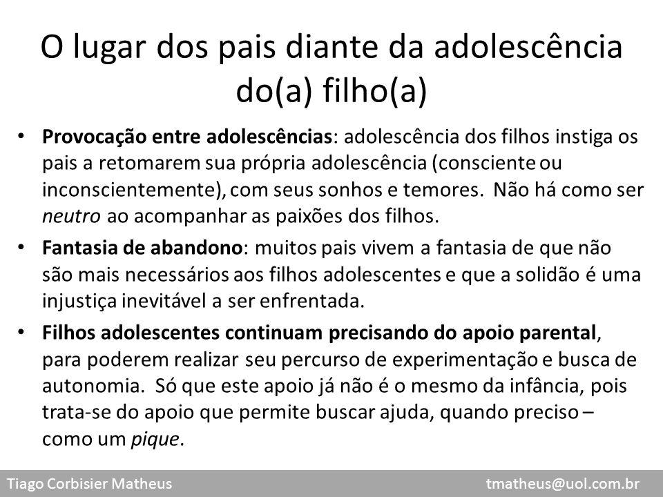 Tiago Corbisier Matheus tmatheus@uol.com.br O lugar dos pais diante da adolescência do(a) filho(a) Provocação entre adolescências: adolescência dos fi