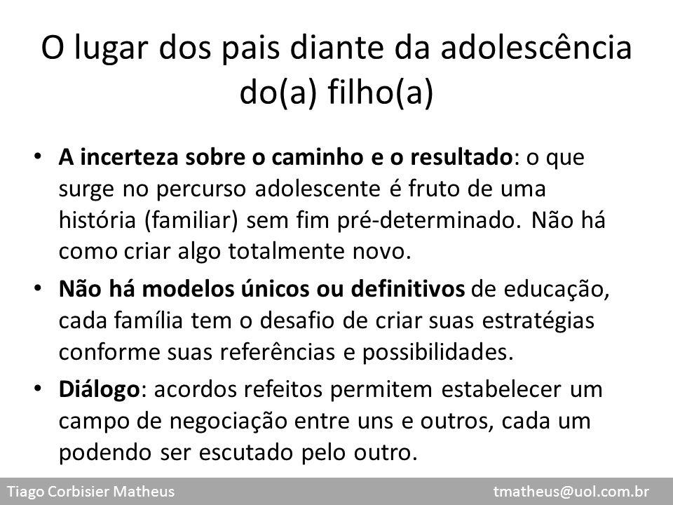 Tiago Corbisier Matheus tmatheus@uol.com.br O lugar dos pais diante da adolescência do(a) filho(a) A incerteza sobre o caminho e o resultado: o que su
