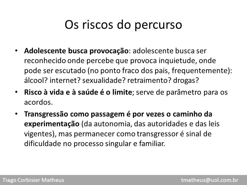 Tiago Corbisier Matheus tmatheus@uol.com.br Os riscos do percurso Adolescente busca provocação: adolescente busca ser reconhecido onde percebe que pro