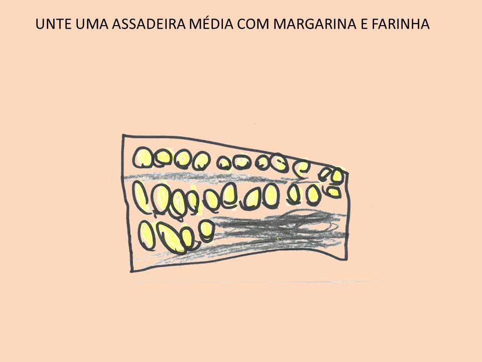 UNTE UMA ASSADEIRA MÉDIA COM MARGARINA E FARINHA