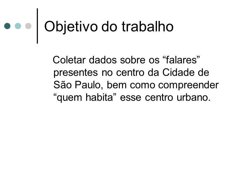 Objetivo do trabalho Coletar dados sobre os falares presentes no centro da Cidade de São Paulo, bem como compreender quem habita esse centro urbano.
