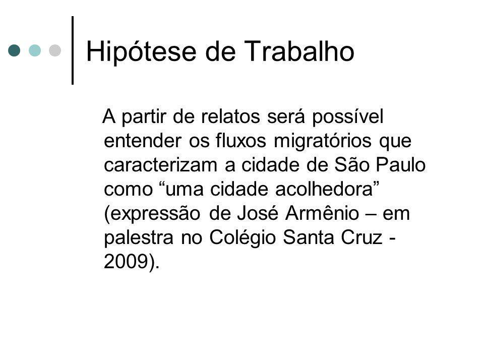 Hipótese de Trabalho A partir de relatos será possível entender os fluxos migratórios que caracterizam a cidade de São Paulo como uma cidade acolhedora (expressão de José Armênio – em palestra no Colégio Santa Cruz - 2009).