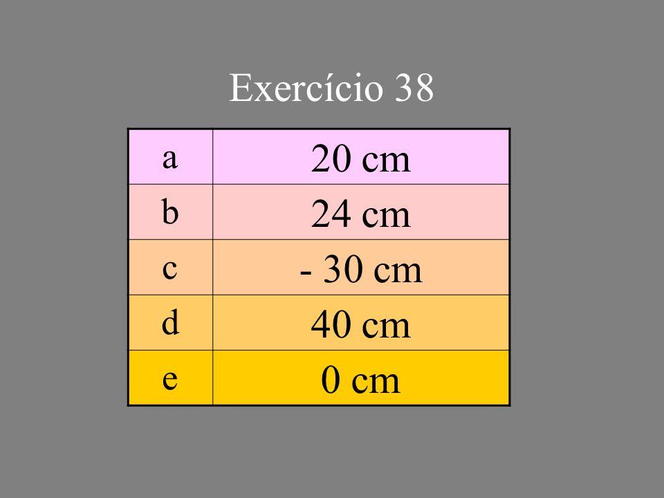 Exercício 38 a 20 cm b 24 cm c - 30 cm d 40 cm e 0 cm