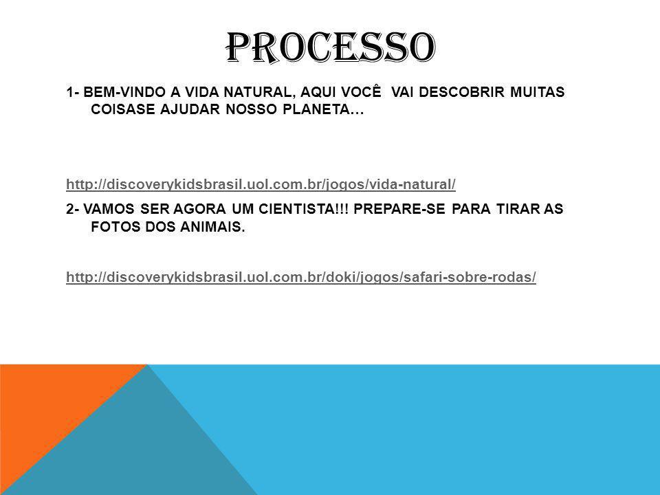 PROCESSO 1- BEM-VINDO A VIDA NATURAL, AQUI VOCÊ VAI DESCOBRIR MUITAS COISASE AJUDAR NOSSO PLANETA… http://discoverykidsbrasil.uol.com.br/jogos/vida-natural/ 2- VAMOS SER AGORA UM CIENTISTA!!.