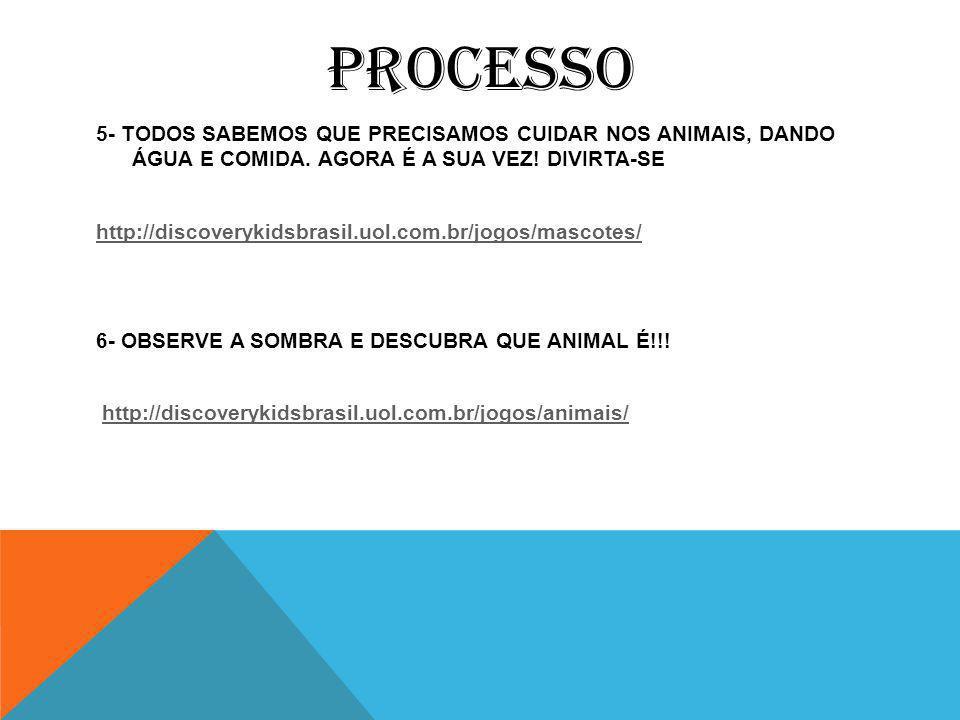 PROCESSO 5- TODOS SABEMOS QUE PRECISAMOS CUIDAR NOS ANIMAIS, DANDO ÁGUA E COMIDA.