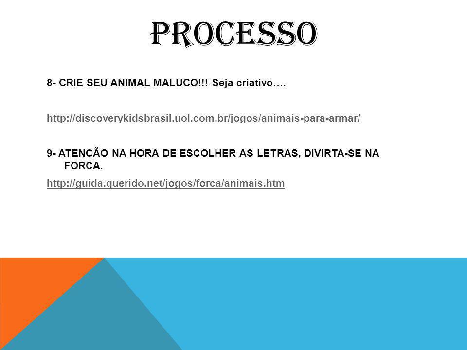 PROCESSO 8- CRIE SEU ANIMAL MALUCO!!.Seja criativo….