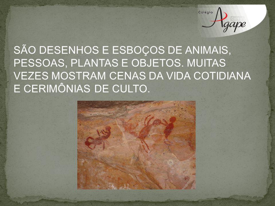 SÃO DESENHOS E ESBOÇOS DE ANIMAIS, PESSOAS, PLANTAS E OBJETOS. MUITAS VEZES MOSTRAM CENAS DA VIDA COTIDIANA E CERIMÔNIAS DE CULTO.