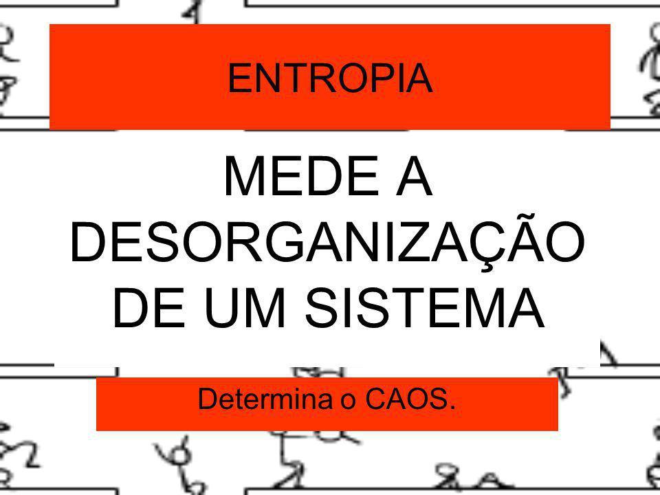 ENTROPIA MEDE A DESORGANIZAÇÃO DE UM SISTEMA Determina o CAOS.