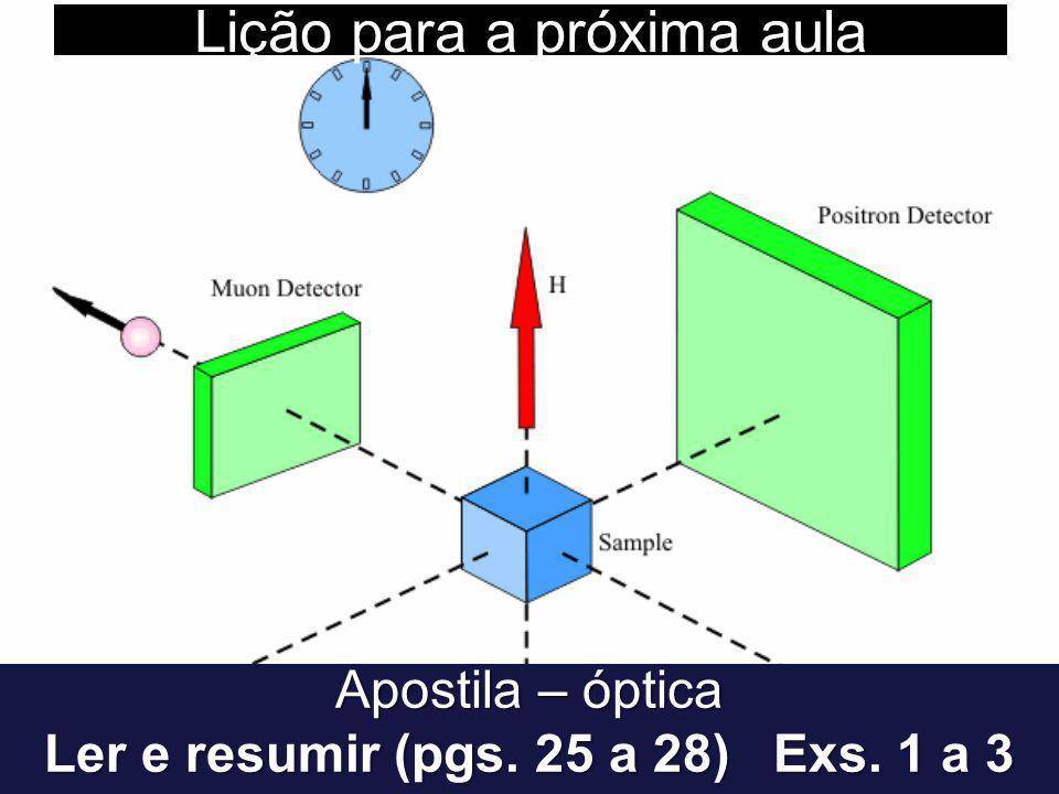 Lição para a próxima aula Apostila – óptica Ler e resumir (pgs. 25 a 28) Exs. 1 a 3