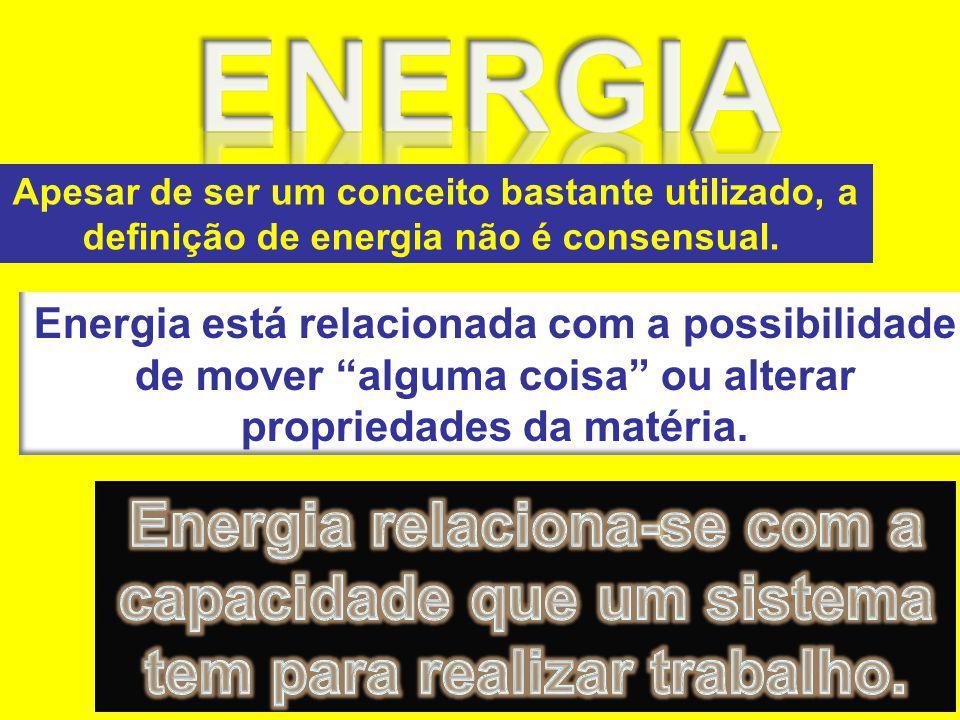 Apesar de ser um conceito bastante utilizado, a definição de energia não é consensual. Energia está relacionada com a possibilidade de mover alguma co