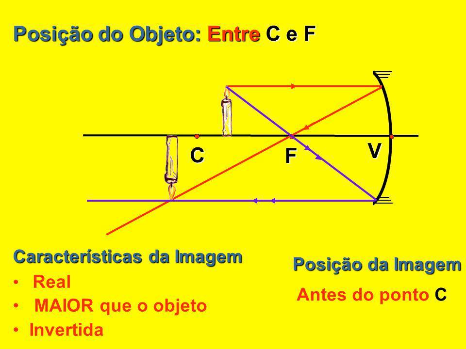 Posição do Objeto: No ponto C Posição da Imagem No ponto C Características da Imagem Real Mesmo tamanho que o objeto Invertida V F C