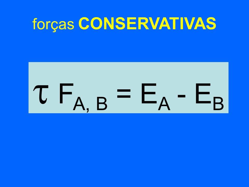 forças CONSERVATIVAS F A, B = E A - E B