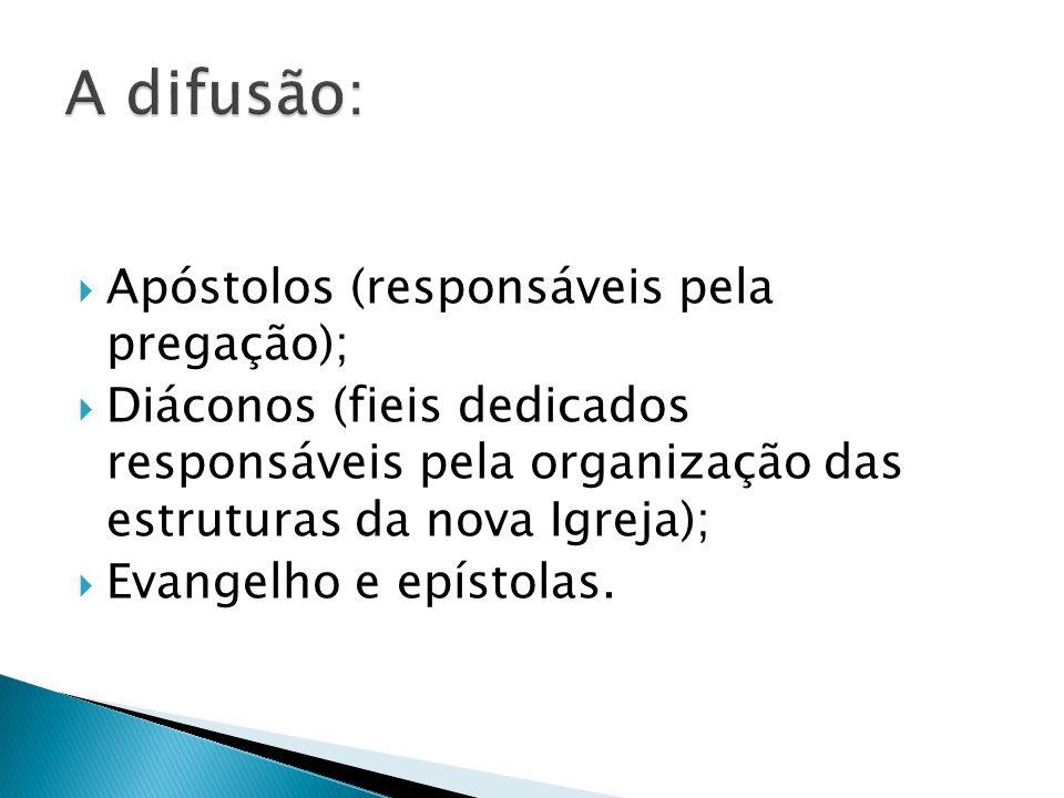 Apóstolos (responsáveis pela pregação); Diáconos (fieis dedicados responsáveis pela organização das estruturas da nova Igreja); Evangelho e epístolas.