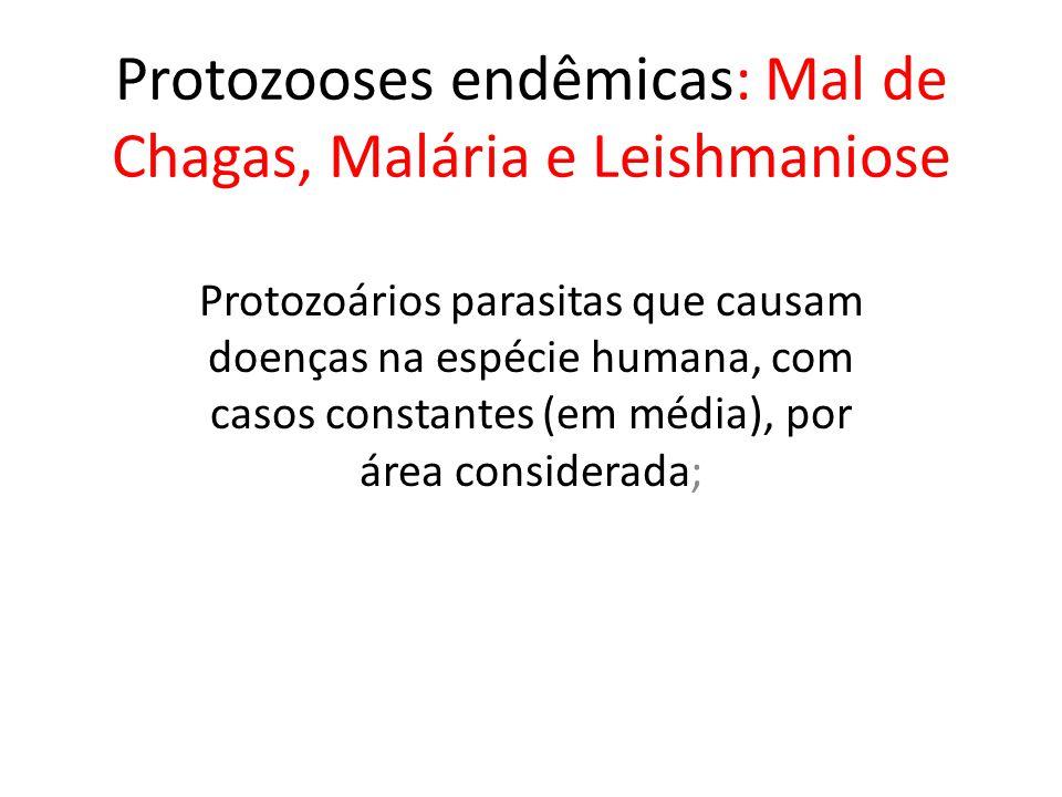 Protozooses endêmicas: Mal de Chagas, Malária e Leishmaniose Protozoários parasitas que causam doenças na espécie humana, com casos constantes (em méd