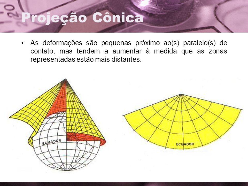 Projeção Cônica As deformações são pequenas próximo ao(s) paralelo(s) de contato, mas tendem a aumentar à medida que as zonas representadas estão mais