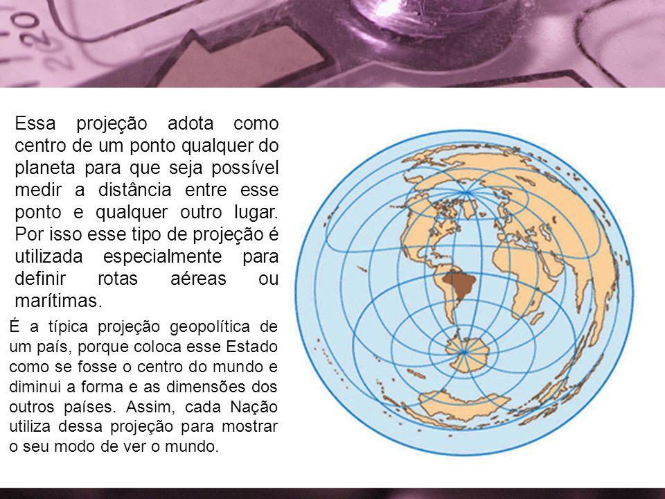 Essa projeção adota como centro de um ponto qualquer do planeta para que seja possível medir a distância entre esse ponto e qualquer outro lugar. Por