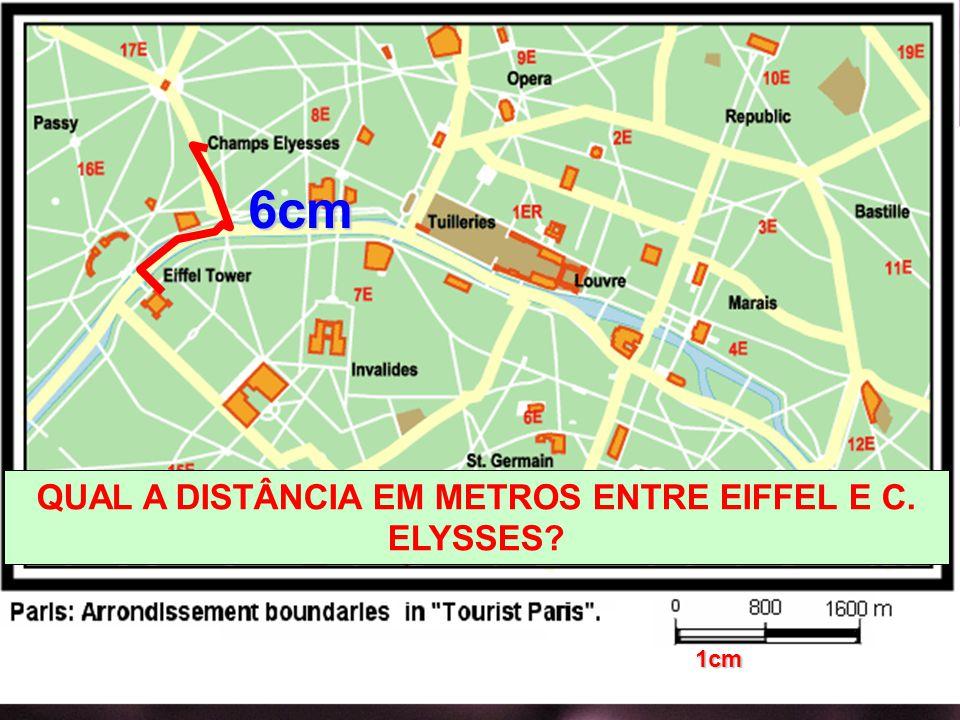 6cm QUAL A DISTÂNCIA EM METROS ENTRE EIFFEL E C. ELYSSES? 1cm
