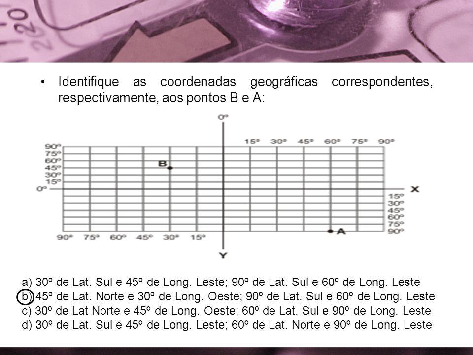 Identifique as coordenadas geográficas correspondentes, respectivamente, aos pontos B e A: a) 30º de Lat. Sul e 45º de Long. Leste; 90º de Lat. Sul e