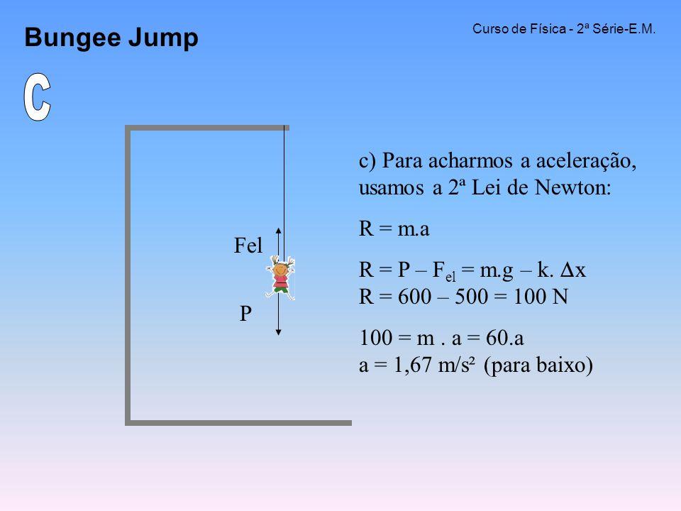 Bungee Jump Curso de Física - 2ª Série-E.M. c) Para acharmos a aceleração, usamos a 2ª Lei de Newton: R = m.a R = P – F el = m.g – k. x R = 600 – 500