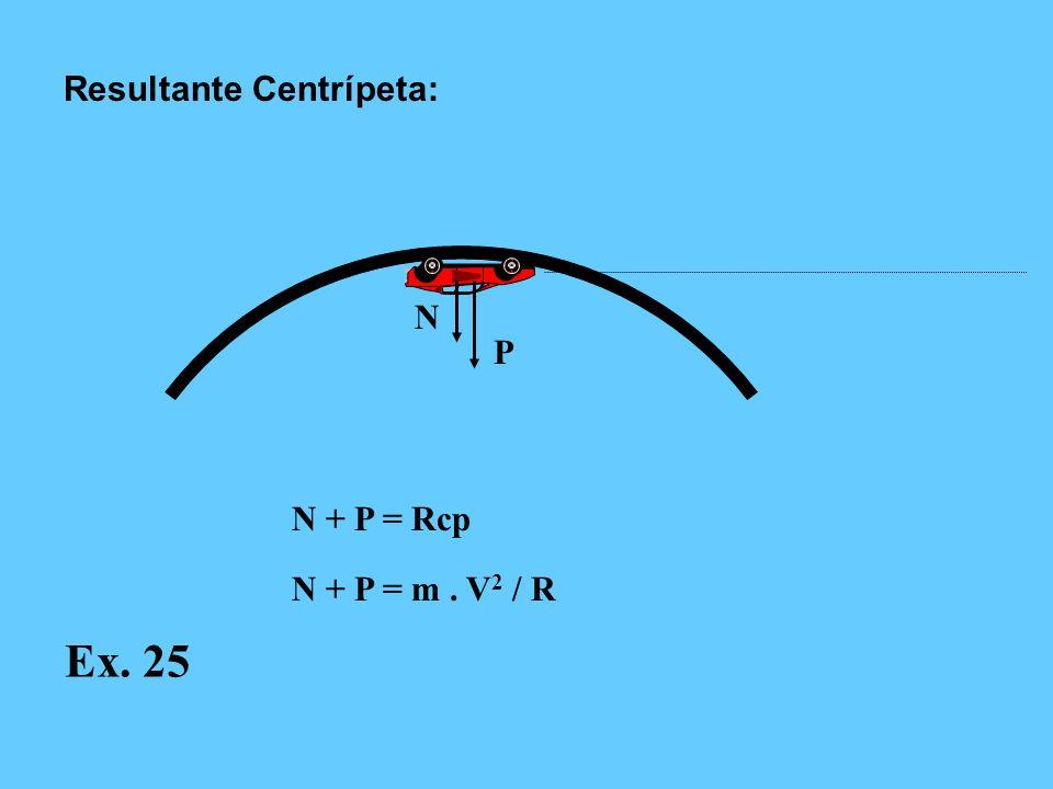 N P N + P = Rcp N + P = m. V 2 / R Resultante Centrípeta: Ex. 25