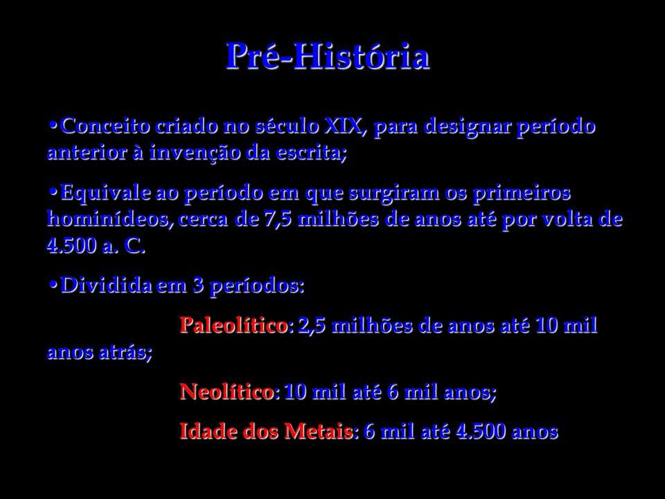 Pré-História Conceito criado no século XIX, para designar período anterior à invenção da escrita; Conceito criado no século XIX, para designar período