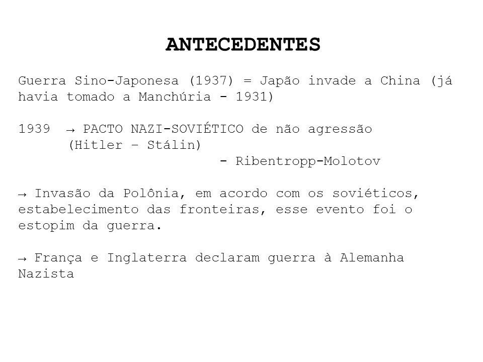 ANTECEDENTES Guerra Sino-Japonesa (1937) = Japão invade a China (já havia tomado a Manchúria - 1931) 1939 PACTO NAZI-SOVIÉTICO de não agressão (Hitler