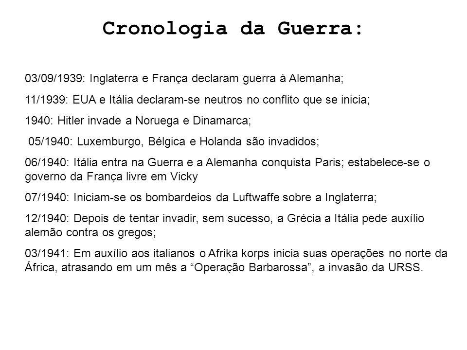 Cronologia da Guerra: 03/09/1939: Inglaterra e França declaram guerra à Alemanha; 11/1939: EUA e Itália declaram-se neutros no conflito que se inicia;