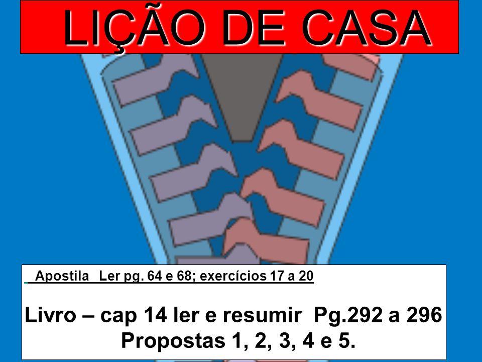 LIÇÃO DE CASA Apostila Ler pg. 64 e 68; exercícios 17 a 20 Livro – cap 14 ler e resumir Pg.292 a 296 Propostas 1, 2, 3, 4 e 5.