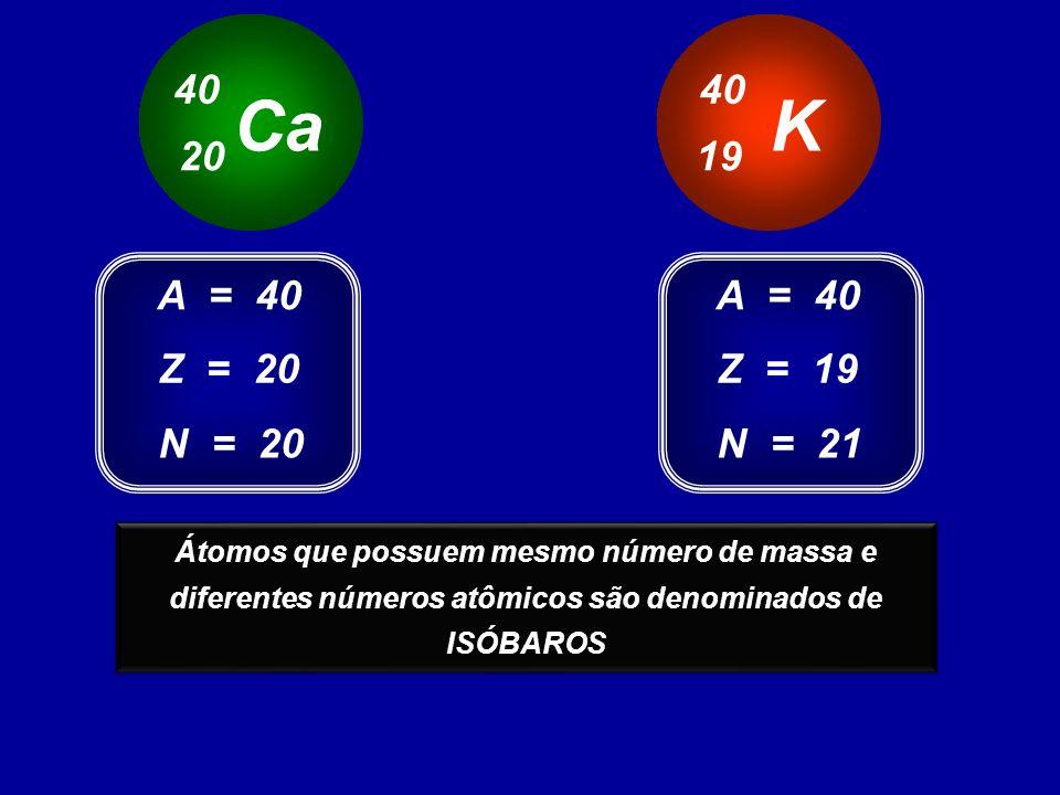 Ca 40 20 K 40 19 Z = 20 A = 40 N = 20 Z = 19 A = 40 N = 21 Estes átomos possuem o mesmo número de massa e diferentes números atômicos Átomos que possu
