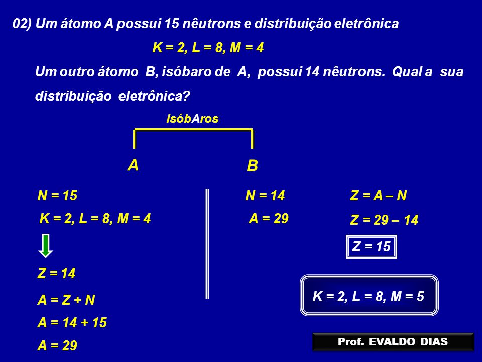 02) Um átomo A possui 15 nêutrons e distribuição eletrônica K = 2, L = 8, M = 4 Um outro átomo B, isóbaro de A, possui 14 nêutrons. Qual a sua distrib