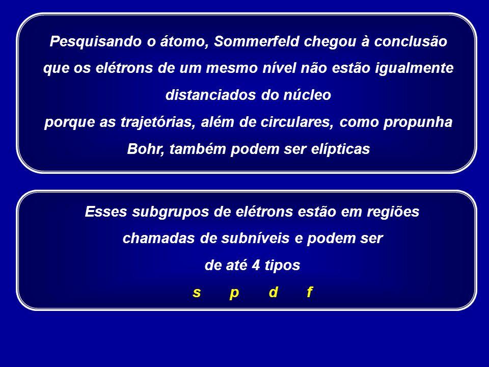 Pesquisando o átomo, Sommerfeld chegou à conclusão que os elétrons de um mesmo nível não estão igualmente distanciados do núcleo porque as trajetórias