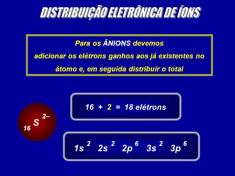 Para os ÂNIONS devemos adicionar os elétrons ganhos aos já existentes no átomo e, em seguida distribuir o total S 2– 16 16 + 2 = 18 elétrons 1s2s2p3s3