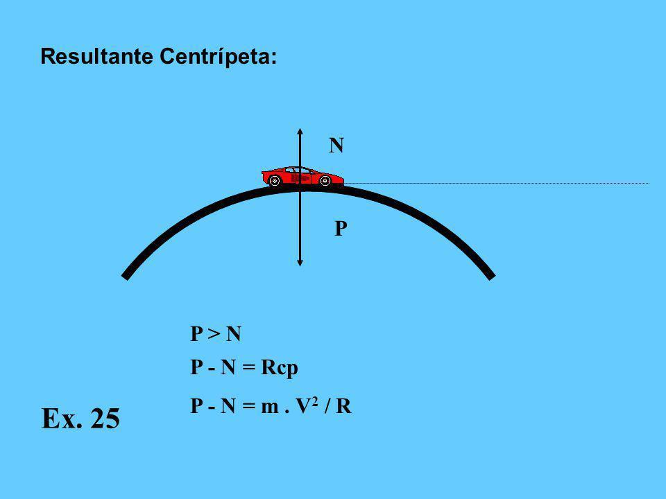N P P > N P - N = Rcp P - N = m. V 2 / R Resultante Centrípeta: Ex. 25