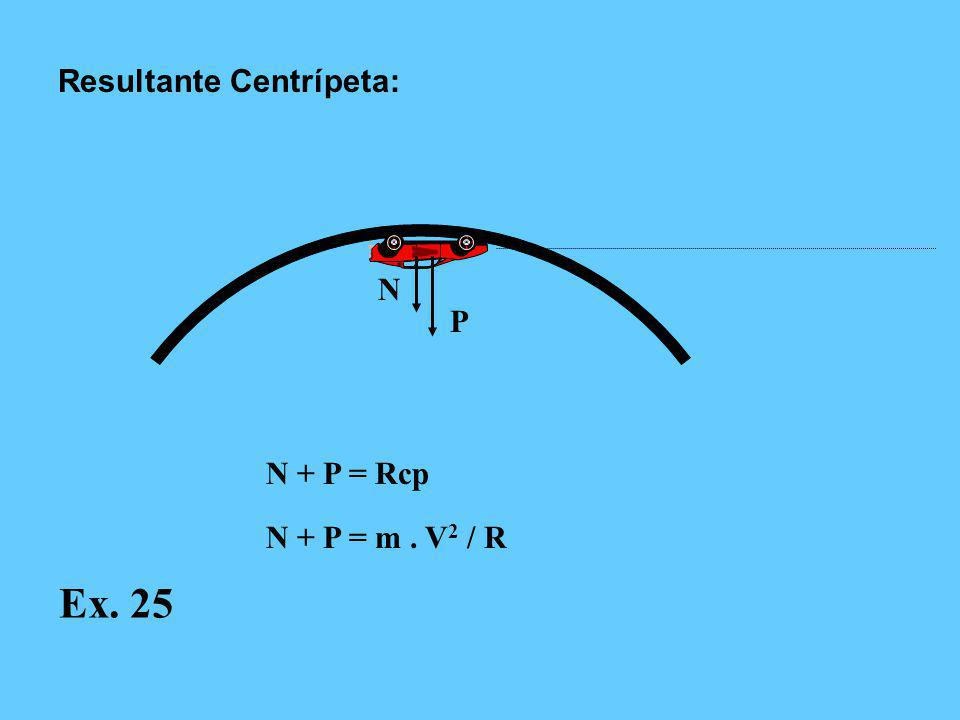 N P N = Rcp N = m. V 2 / R Resultante Centrípeta: Ex. 25