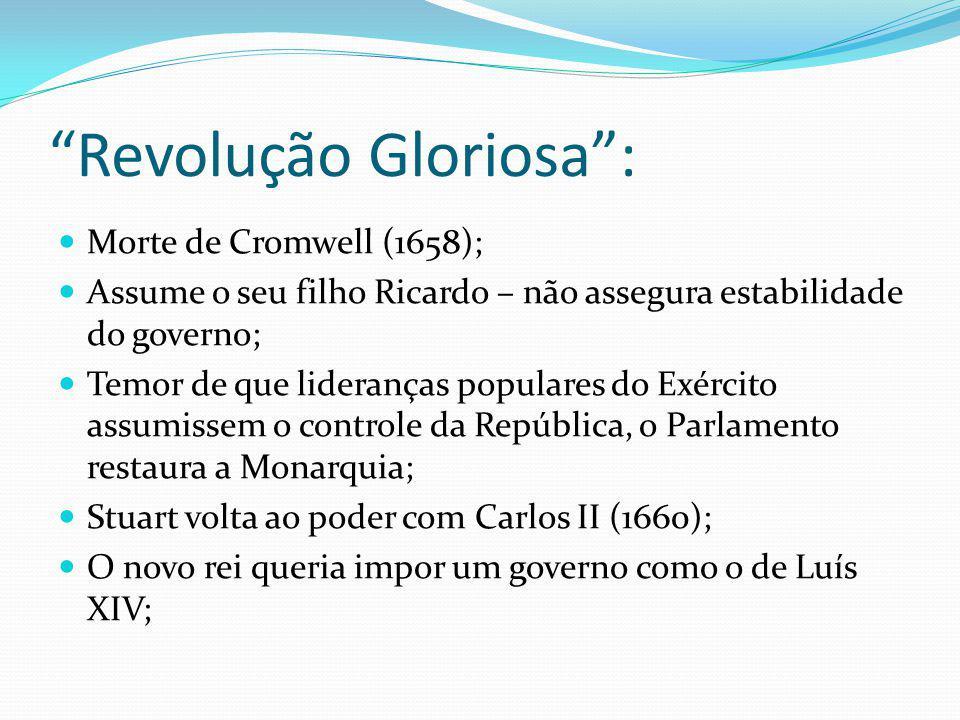 Revolução Gloriosa: Morte de Cromwell (1658); Assume o seu filho Ricardo – não assegura estabilidade do governo; Temor de que lideranças populares do