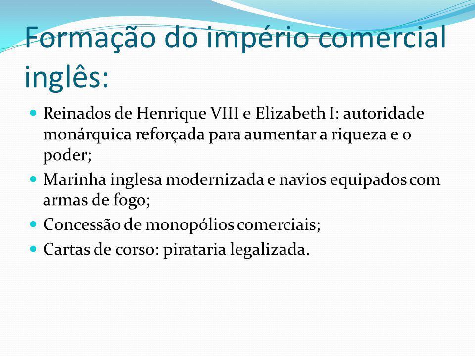 Formação do império comercial inglês: Reinados de Henrique VIII e Elizabeth I: autoridade monárquica reforçada para aumentar a riqueza e o poder; Mari
