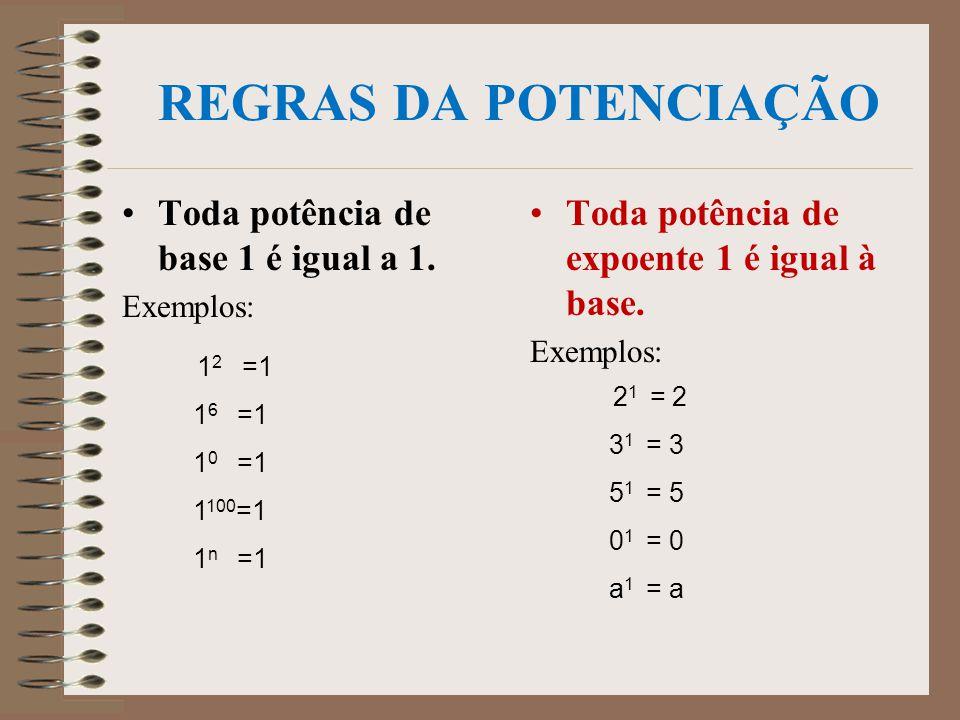 E agora, quanto vale (-3)² ? (-3)² = (-3). (-3) = +9 E quanto vale (-2)³ ? (-2) ³ = (-2). (-2). (-2) = -8 Observação: Toda potência de base negativa é