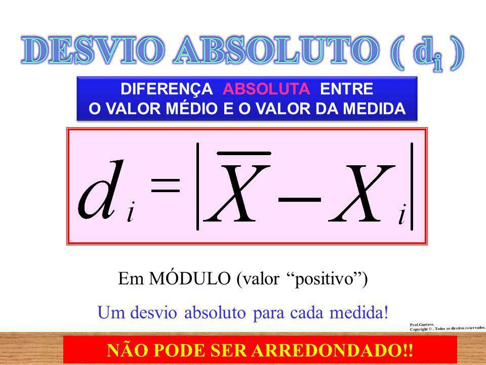 DIFERENÇA ABSOLUTA ENTRE O VALOR MÉDIO E O VALOR DA MEDIDA Em MÓDULO (valor positivo) Um desvio absoluto para cada medida.