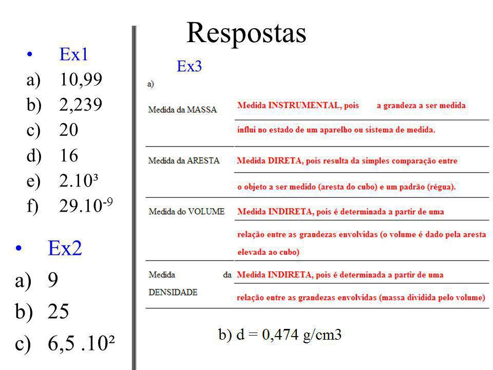 Respostas Ex1 a)10,99 b)2,239 c)20 d)16 e)2.10³ f)29.10 -9 Ex2 a)9 b)25 c)6,5.10² Ex3