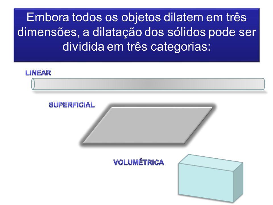 Embora todos os objetos dilatem em três dimensões, a dilatação dos sólidos pode ser dividida em três categorias: