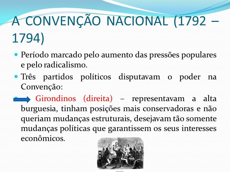 A CONVENÇÃO NACIONAL (1792 – 1794) Período marcado pelo aumento das pressões populares e pelo radicalismo. Três partidos políticos disputavam o poder