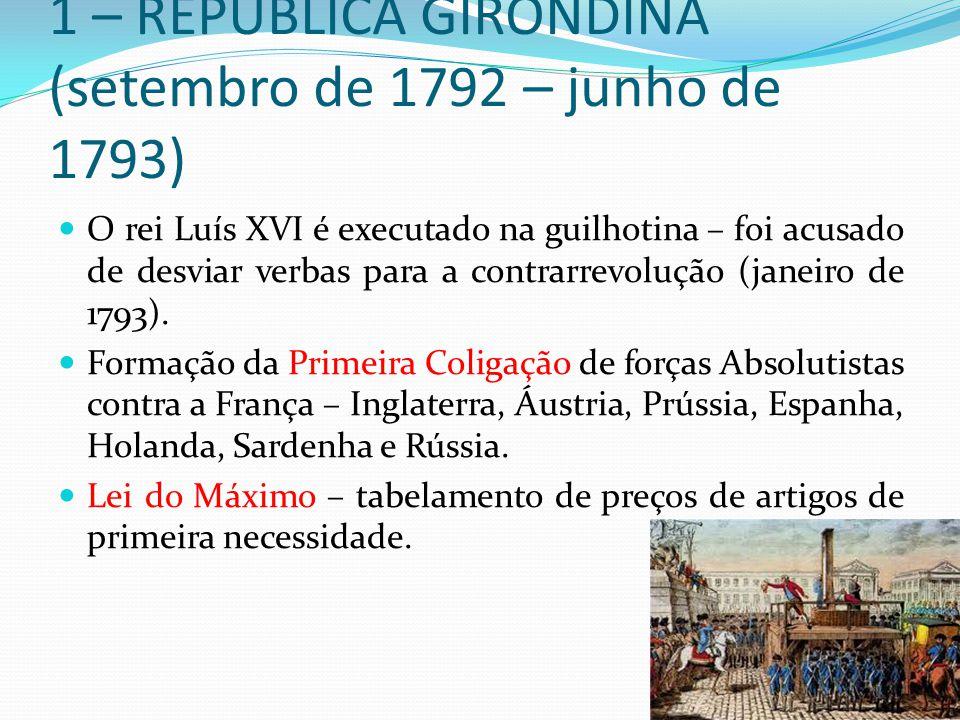 1 – REPÚBLICA GIRONDINA (setembro de 1792 – junho de 1793) O rei Luís XVI é executado na guilhotina – foi acusado de desviar verbas para a contrarrevo